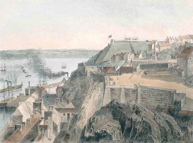 View of the Parliament Building in Quebec in 1850