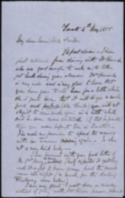 Letter by Sandford to his wife