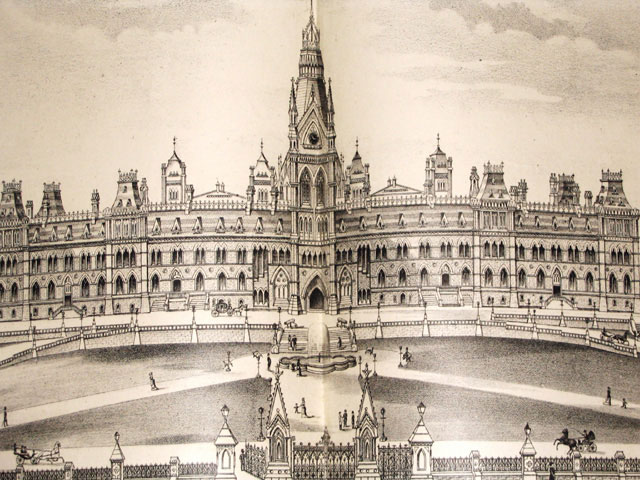 Engraving of the Parliament Buildings in Ottawa