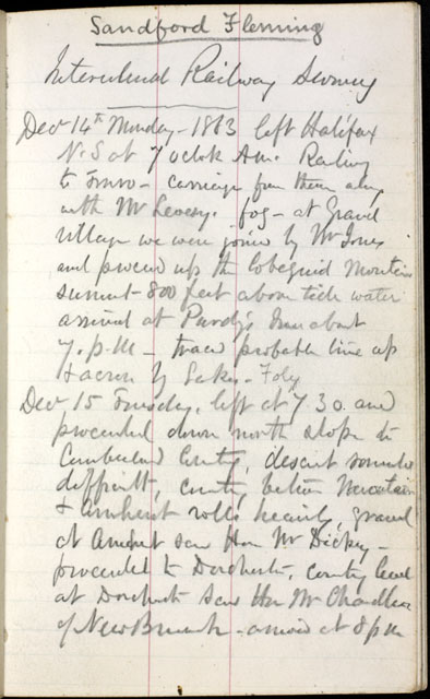 Excerpt from Fleming's journal