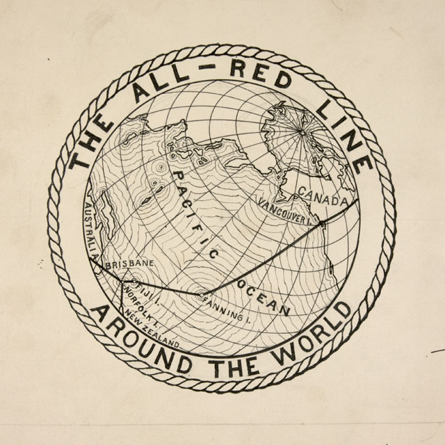 Drawing of the red line of the British Empire